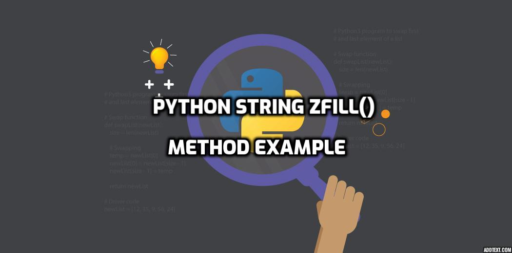 Python String Zfill() Method Example